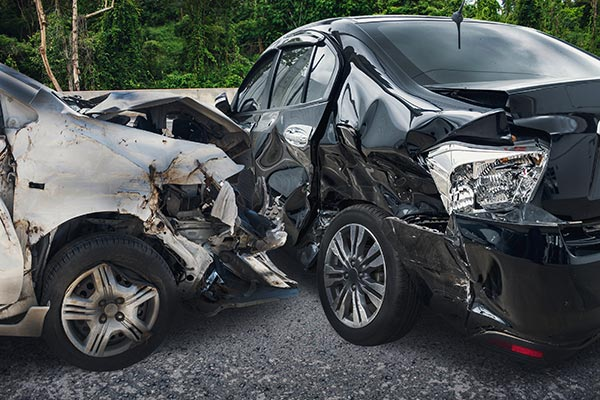 severe auto accident between two vehicles